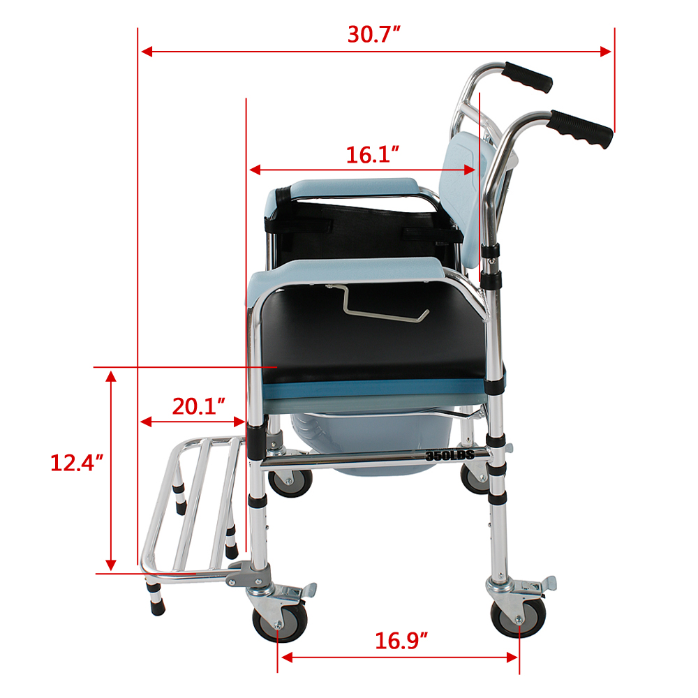 Portable Bedside Commode 4-in-1 Steel Toilet Safety Shower Seat ...