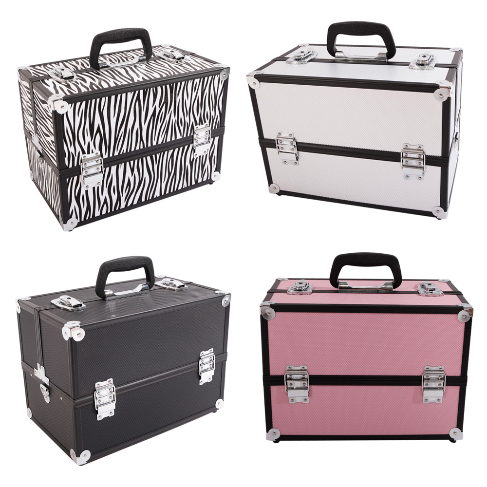 Professional Travel Aluminum Makeup Train Case Box ...