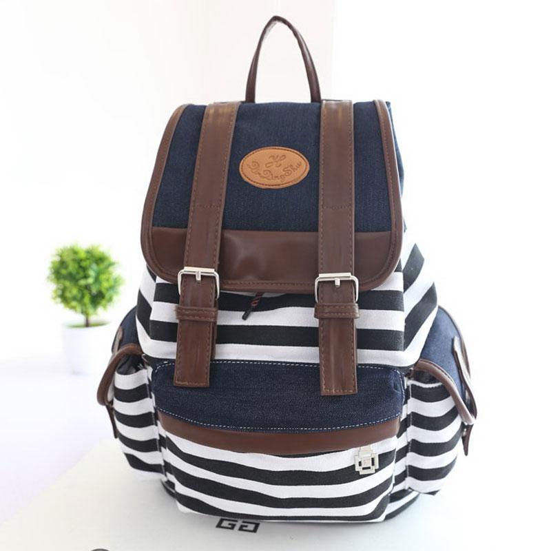 Women Cute Stripes Pattern Canvas Backpack School Bag Girl Fashion ...