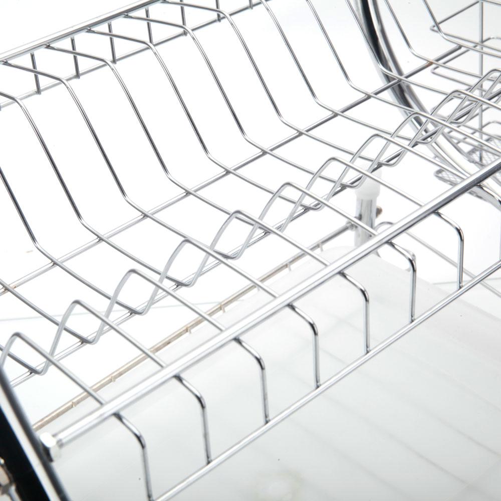 Home Basics 2 Tier Dish Drainer Drying Rack Washing Organizer