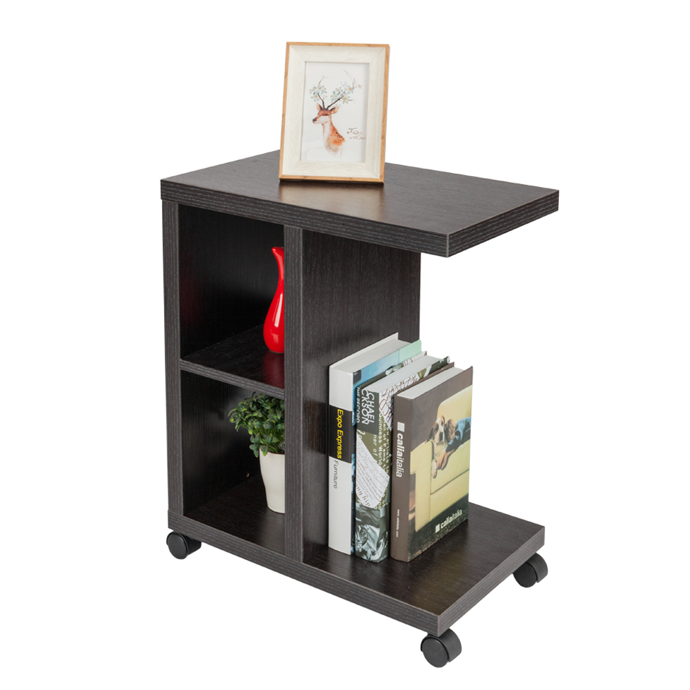 3 Tier Rolling Side Table Sofa End Shelves Living Room Display Stand