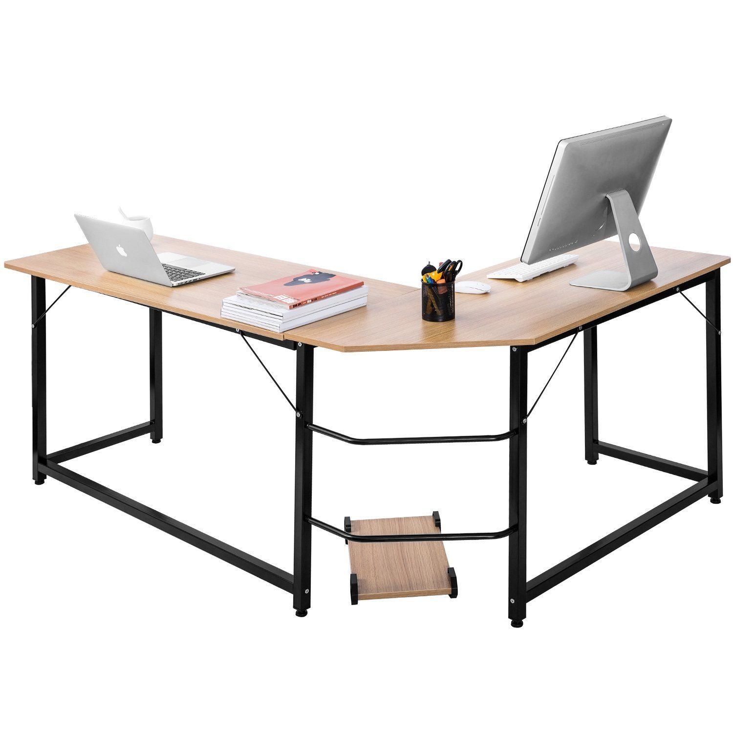 Corner computer desk wood writing l shaped executive pc table home office