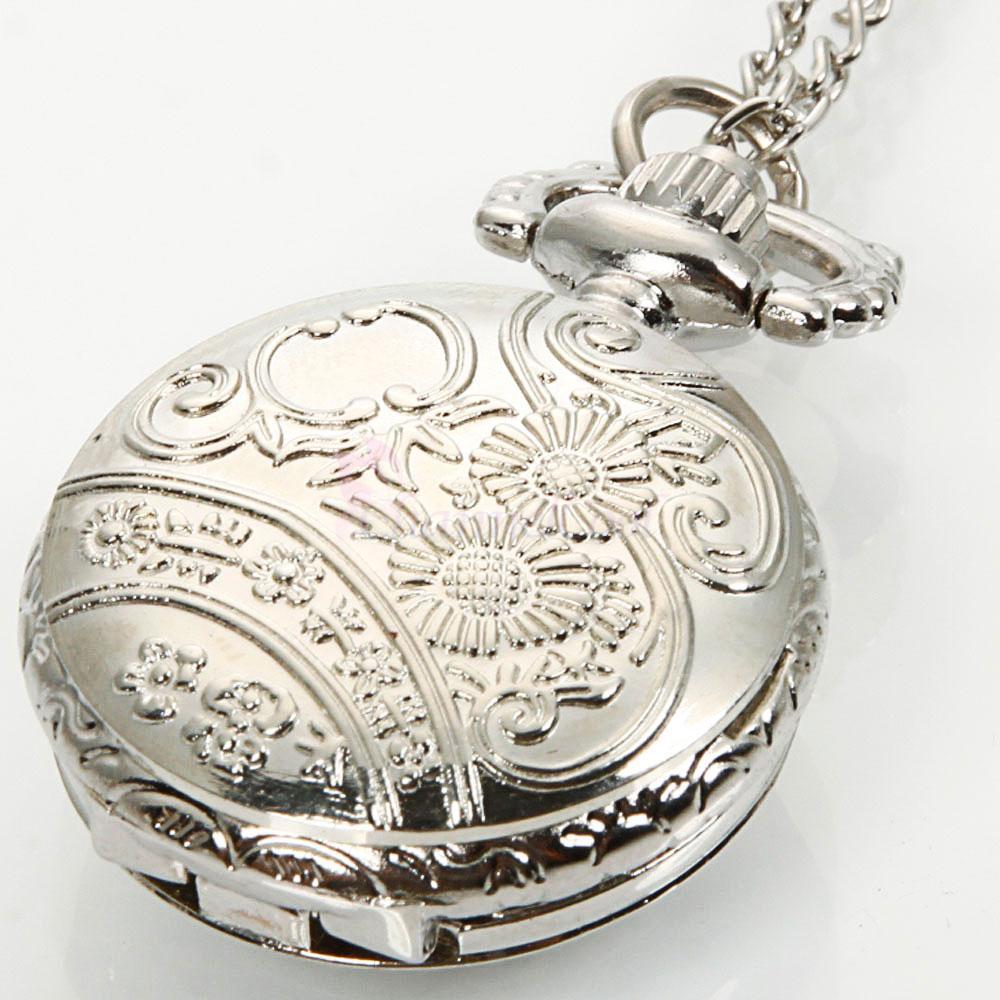 Silver vintage pendant watch