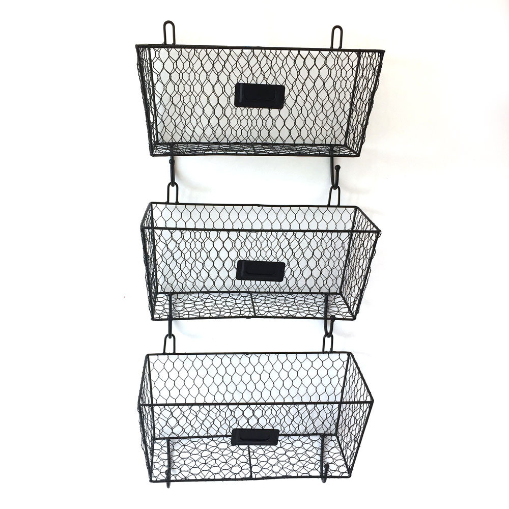 3 x Vintage Style Wall Mounted Storage Basket Wire Letter Mail ...